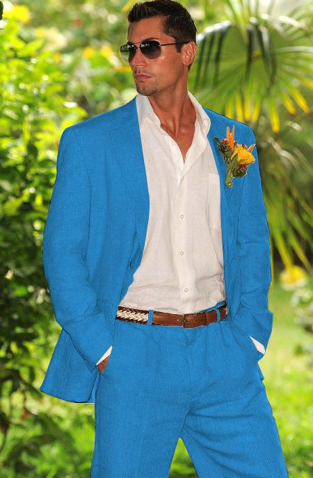 Mens French Blue Summer Light Weight Fabric Linen Suit, act now only $180.00