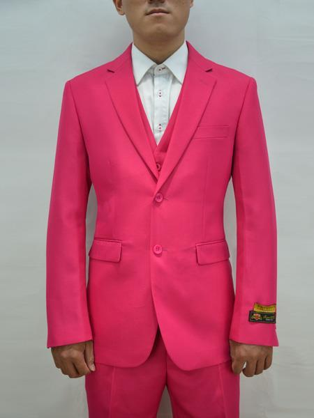 Mens Fushcia Two Button Style Alberto Nardoni Suit, act now only $199.00