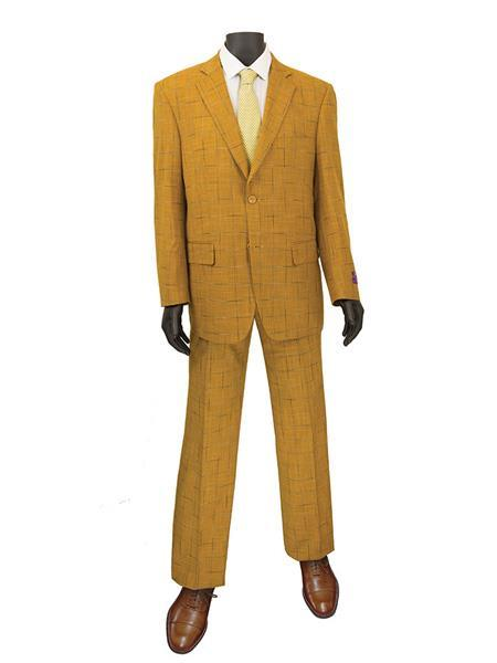Mens Ginger Two Button Style Window Pane Suit, act now only $140.00