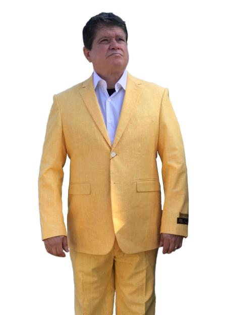 Mens Gold~Yellow Summer Fabric Alberto Nardoni Side Vented Linen Suits, act now only $165.00