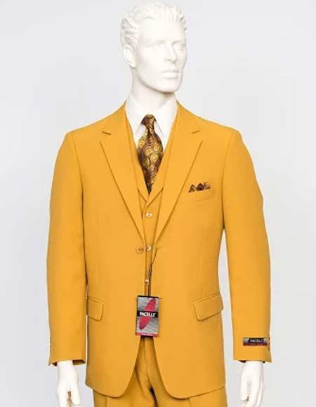 Mens Gold Yellowish Cameron Color Three Pieces Suit, act now only $130.00