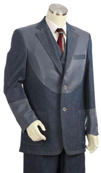 Mens Gray 2 Button Style 3pc Fashion Denim Cotton Fabric Suit, act now only $175.00