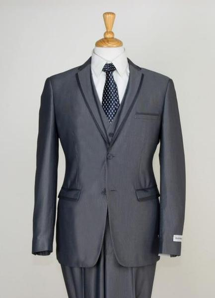 Mens Gray 3 Piece Slim narrow Style Cut Suit, act now only $189.00