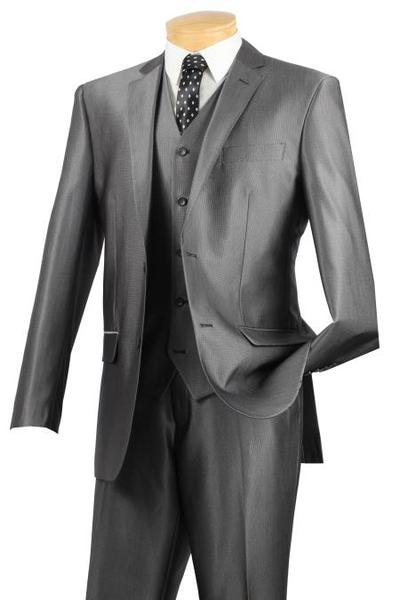 Mens Gray 3pcs Slim narrow Style Fit Suit with vest, act now only $175.00