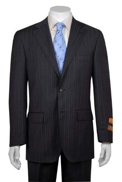 Mens Gray and Shadow Stripe 2 Button Style Vented without pleat flat front Pant, act now only $159.00