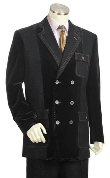 Mens Gray Double Breasted Fashion Denim Cotton Fabric Suit, act now only $175.00