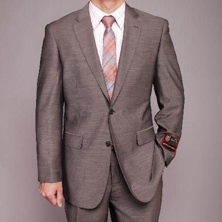 Mens Gray Patterned Two Button Style Slim Narrow Suit, act now only $139.00