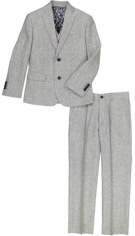 Mens Gray Single Breasted Flap Lapel Linen Suit, act now only $120.00