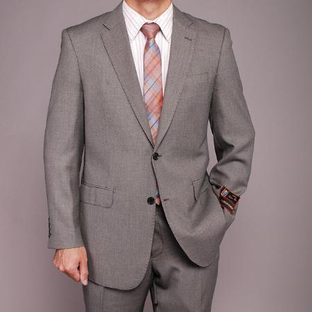 Mens Gray Two Button Style Birdeye Suit, act now only $139.00