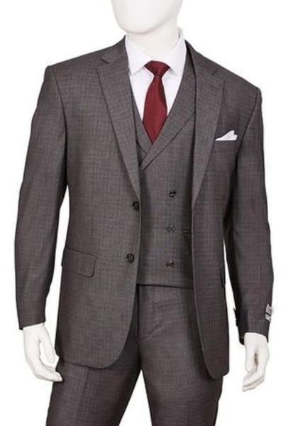 Mens Gray Two Button Style Double Vented Suit, act now only $160.00