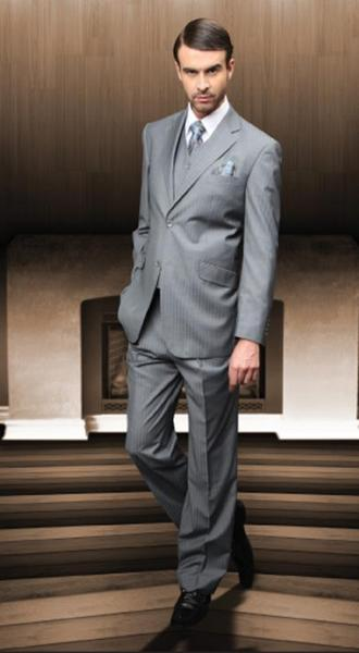 Mens Gray Two Button Style Italian Fabric Suit, act now only $175.00
