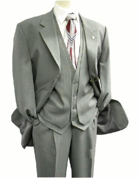 Mens Gray Two Button Style Single Breasted Suit, act now only $139.00