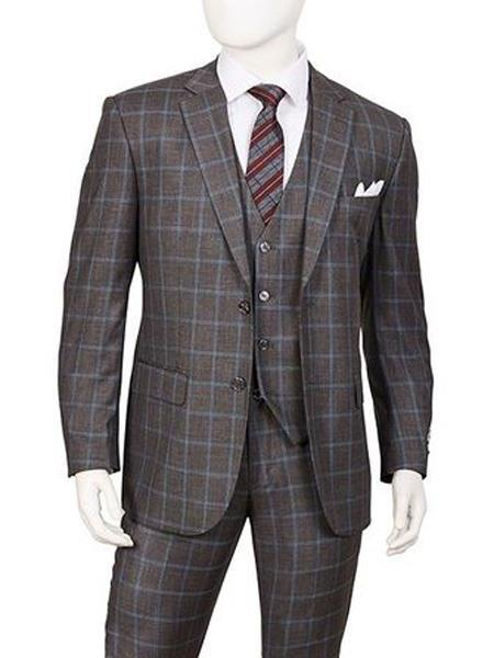 Mens Gray Two Button Style Single Breasted Suit, act now only $129.00