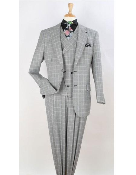 Mens Gray Two Button Wide Peak Lapel Suit, act now only $175.00