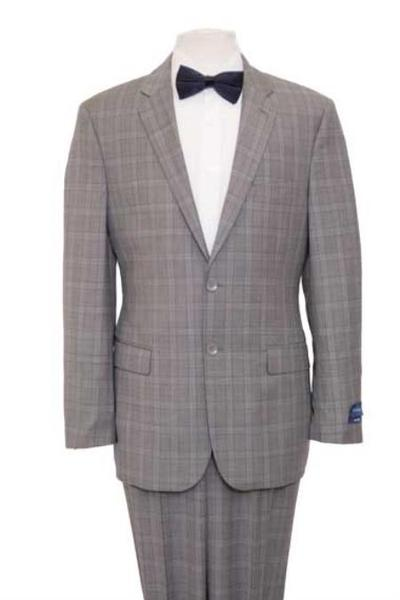 Mens Gray Windowpane Plaid Wool Fabric Blazer Jacket Suit, act now only $165.00