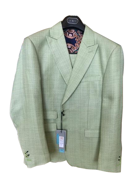 Mens Green Linen Cotton Summer Fabric Two Buttons Peak lapel Suit, act now only $199.00