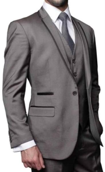 Mens Grey 3 Piece Modern Fit Shark Skin Fashion Suit, act now only $189.00