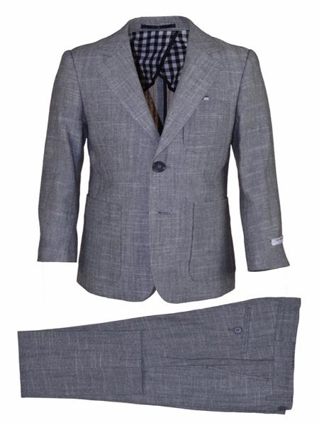Mens Grey Notch Lapel Two Button Linen Suit, act now only $120.00