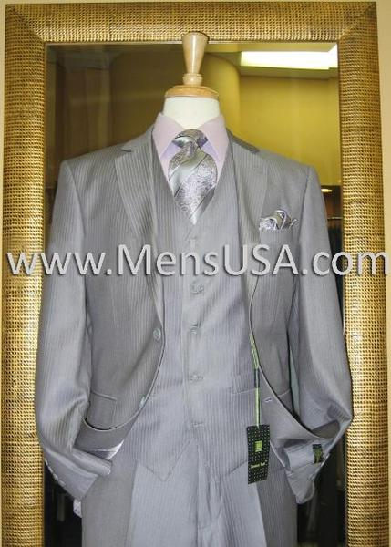 Mens Grey Pinstripe Two Button Style Suit, act now only $185.00