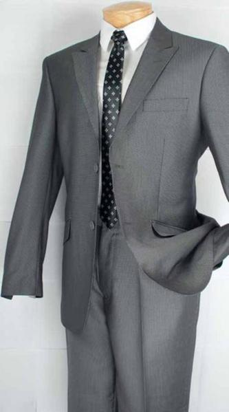 Mens Grey Single Breasted 2 Button Style Peak Lapel Suit, act now only $139.00