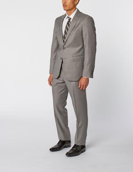 Mens Grey Single Breasted Notch Lapel 100% Wool Double Vent Two Piece Suit, act now only $299.00
