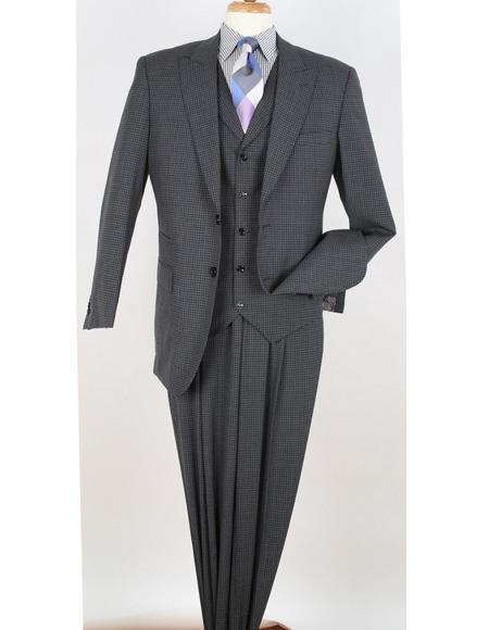 Mens Grey Two Button Peak Lapel Window Pane Suit, act now only $175.00