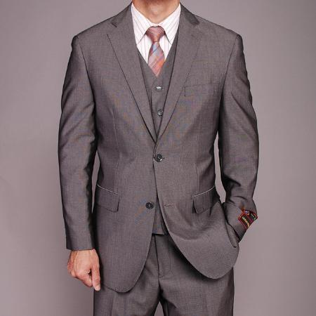 Mens Grey Two Button Style Bird Eye Suit, act now only $139.00