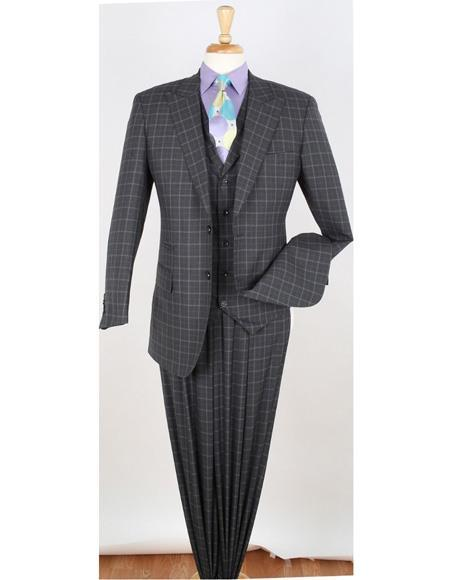 Mens Grey Two Button Style Peak Lapel Suit, act now only $175.00