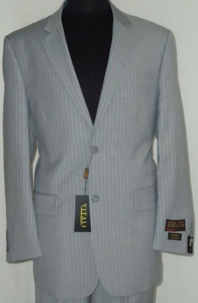 Mens Grey Two Button Style Pinstripe Suit, act now only $189.00