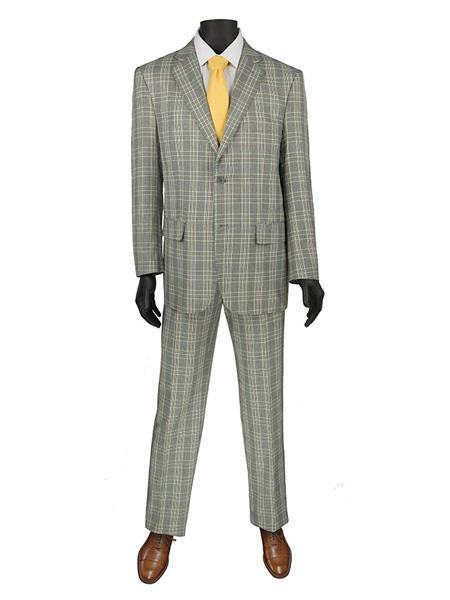 Mens Grey Two Button Style Window Pane Suit, act now only $140.00