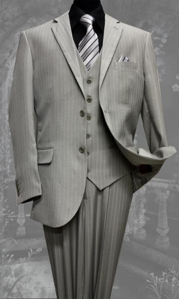 Mens Grey Two Button Style Wool Fabric Suit, act now only $175.00