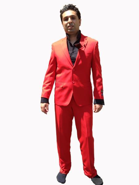 Mens Hot Bright red color shade Modern Cut Suit, act now only $120.00