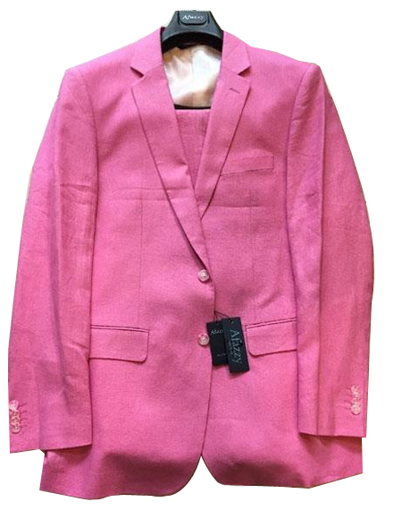 Mens Hot Pink Two Buttons Linen Modern Fit lined suit, act now only $189.00