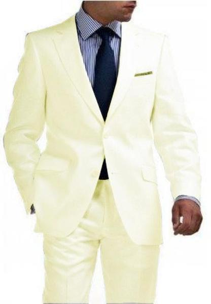 Mens Ivory Flat Front Slim narrow Style Fit Suit, act now only $250.00
