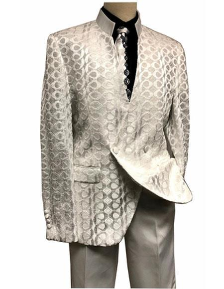 Mens Ivory Mandarin Collar Two Breasted Style Suit, act now only $189.00