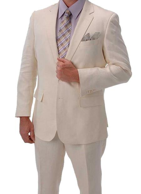Mens Ivory Off White Summer Fabric Light Weight Linen Suit, act now only $180.00