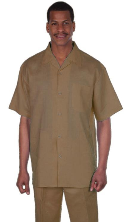 Mens Khaki Longstry Linen Fabric Suit, act now only $99.00