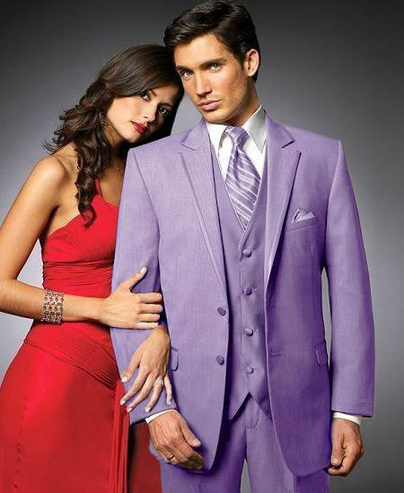 Mens Lavender Two Button Style Notch Lapel Suit, act now only $595.00