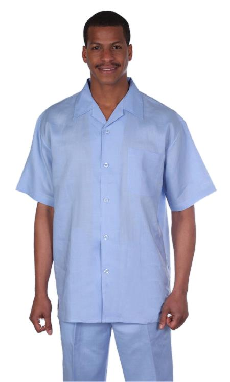 Mens Light Blue Online trendy casual two piece sets Summer Casual Linen Suit, act now only $75.00