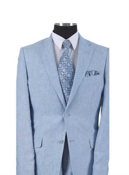 Mens Light Blue Two Button Style Elbow Patch Linen Summer Suit, act now only $175.00