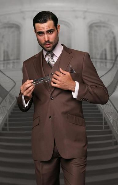 Mens Light Brown Two Button Style Suit, act now only $139.00