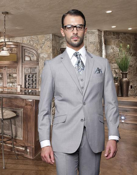 Mens Light Gray Italian Wool Fabric Pick Stitched Lapel Suit, act now only $189.00