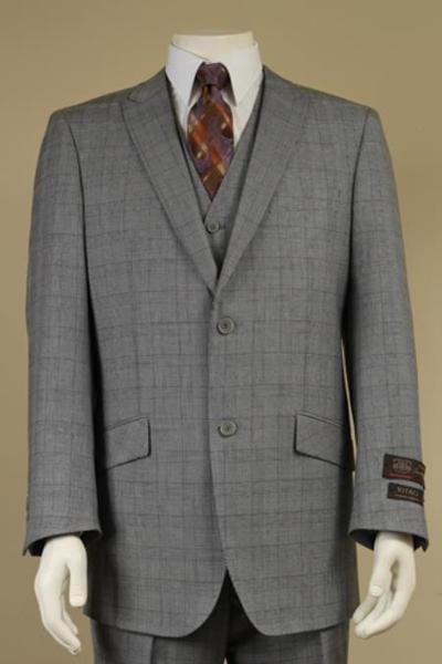 Mens Light Gray Two Button Style Plaid Patterned Vested Suit, act now only $175.00