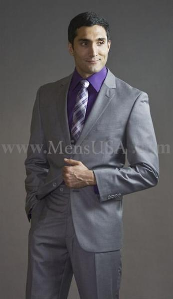 Mens Light Gray Two Button Style Slim Fit Suit, act now only $165.00