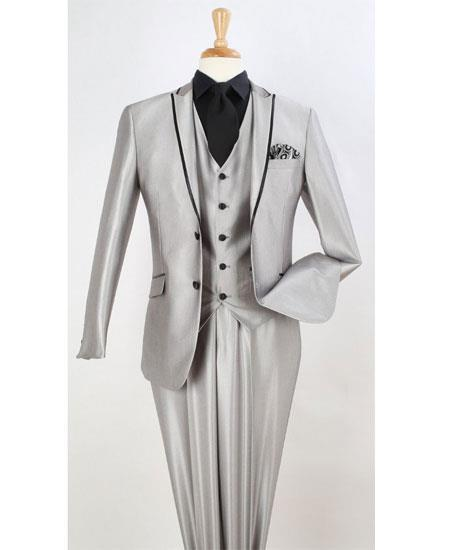 Mens Light Gray Two Toned Trim Lapel Suit, act now only $199.00