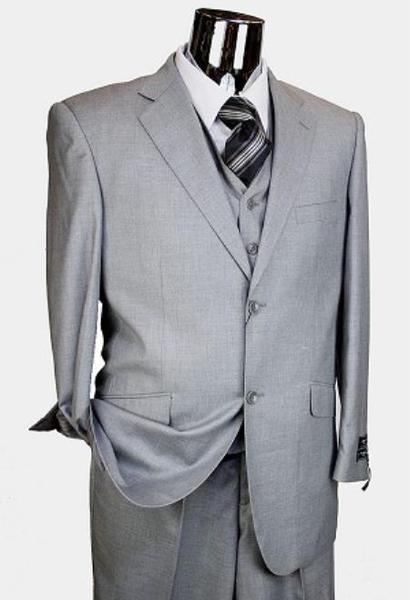 Mens Light Grey 2 Button Style Italian Designer Suit, act now only $189.00