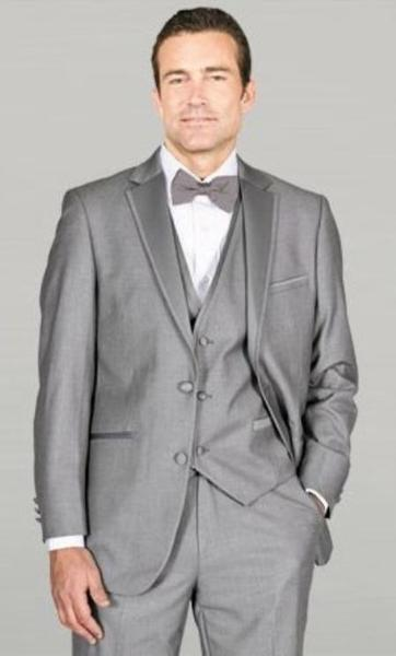 Mens Light Grey Notch Lapel with Vest Microfiber Wedding Tuxedos, act now only $159.00