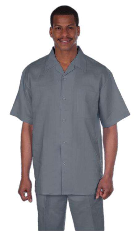 Mens Light Grey Online trendy casual two piece sets Summer linen fabric suit, act now only $75.00