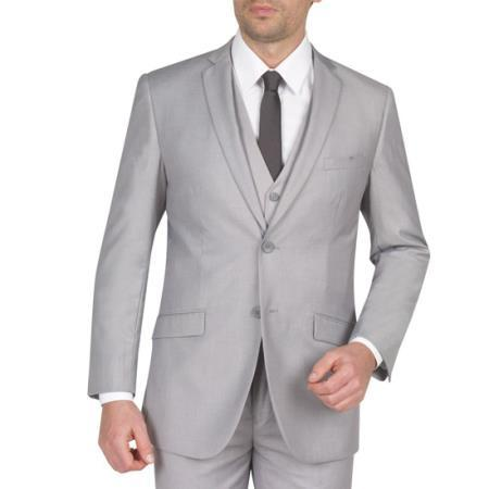 Mens Light Grey Two Button Style Slim Fit Suit, act now only $165.00