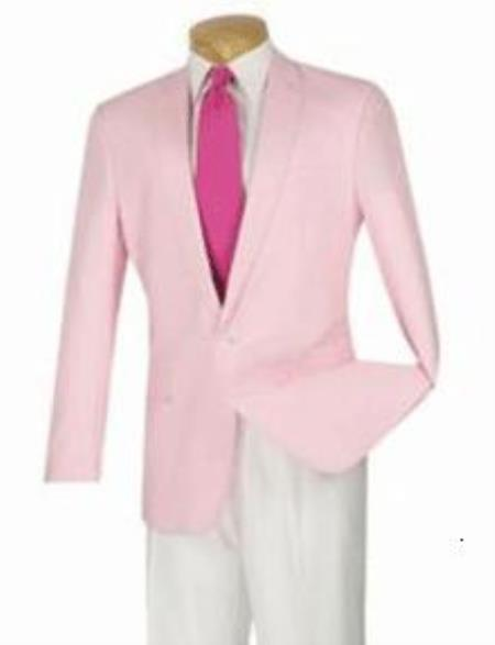 Mens Light Pink one Button Cotton Linen Modern Slim narrow Style Fit Sportcoat, act now only $165.00